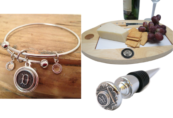 Initial bracelet, cheeseboard and wine bottle stopper every letter available
