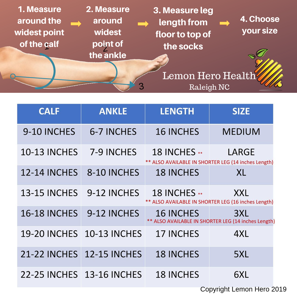 Easy-on Zippered Compression Sock Size and Fit Chart