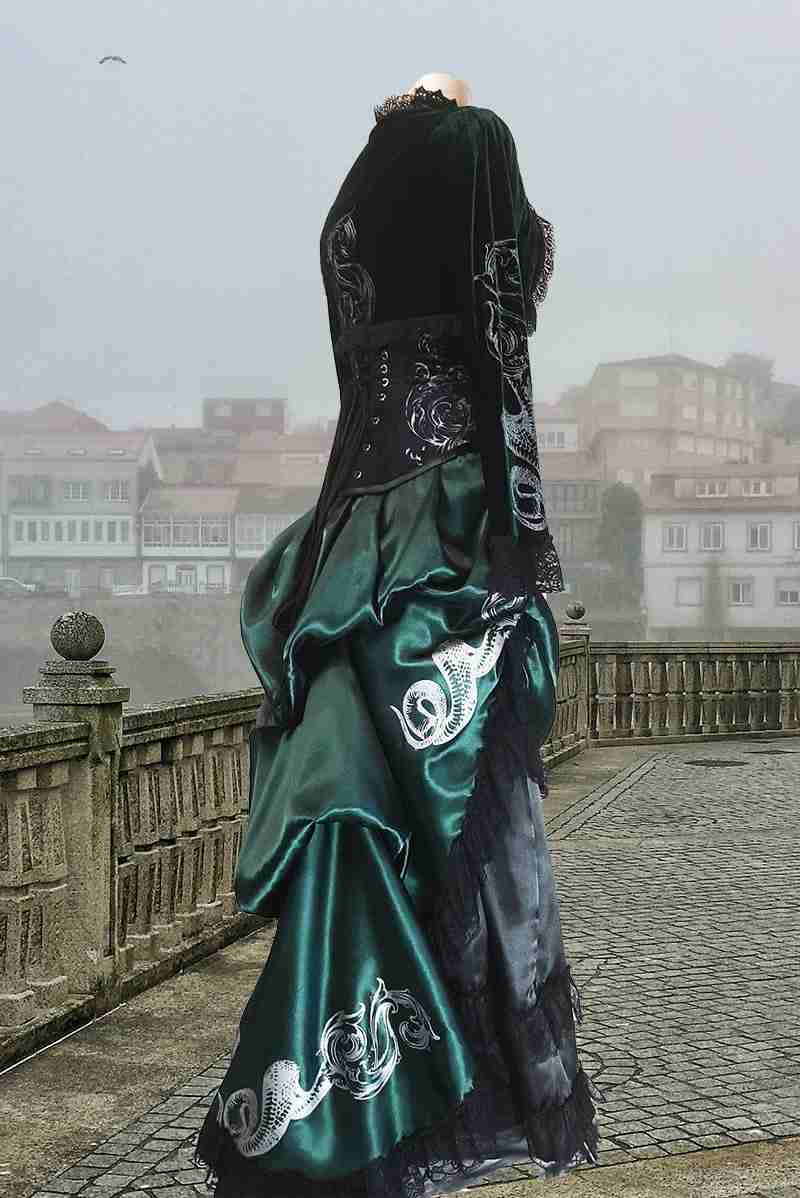 dark green Slytherin fan approved gothic victorian meets Hogwarts bustle skirt printed by hand in silver with a serpent and a baroque Scrolls motif made in Australia by crafty wizards