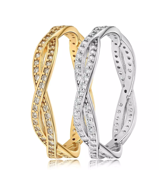 Blush and Bar Rebecca Rope Ring in gold vermeil and sterling silver