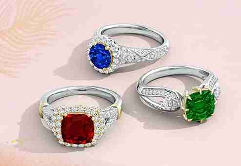 Angara colorful gemstone rings in silver