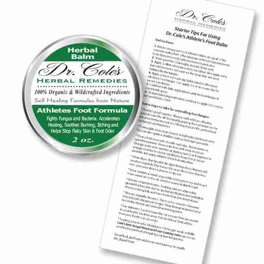 Inside the package of Dr. Coles Athlete's Foot Balm.
