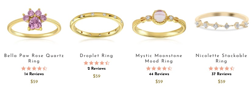 Gold rings from Blush and Bar
