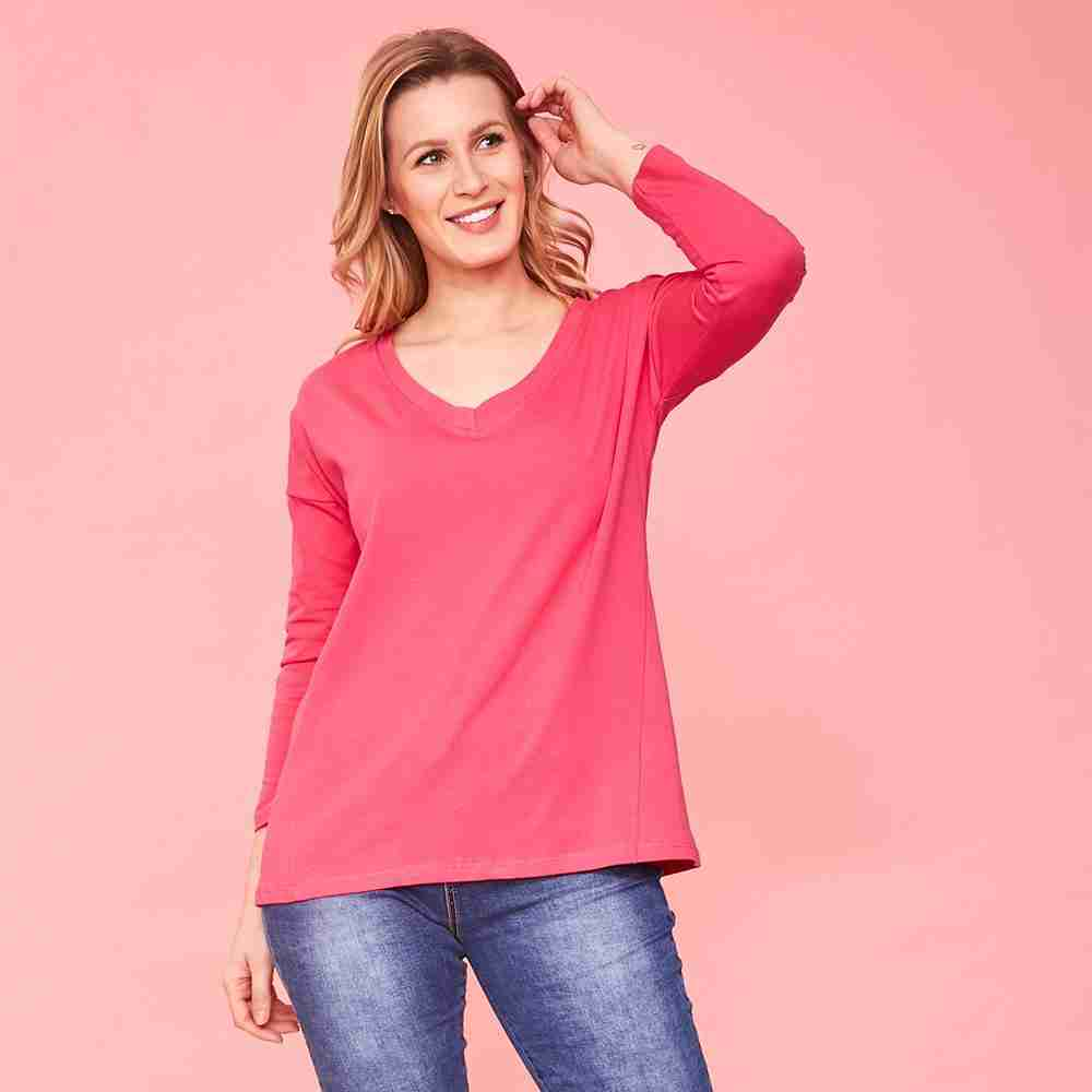 Riley V Neck Top (Pink)