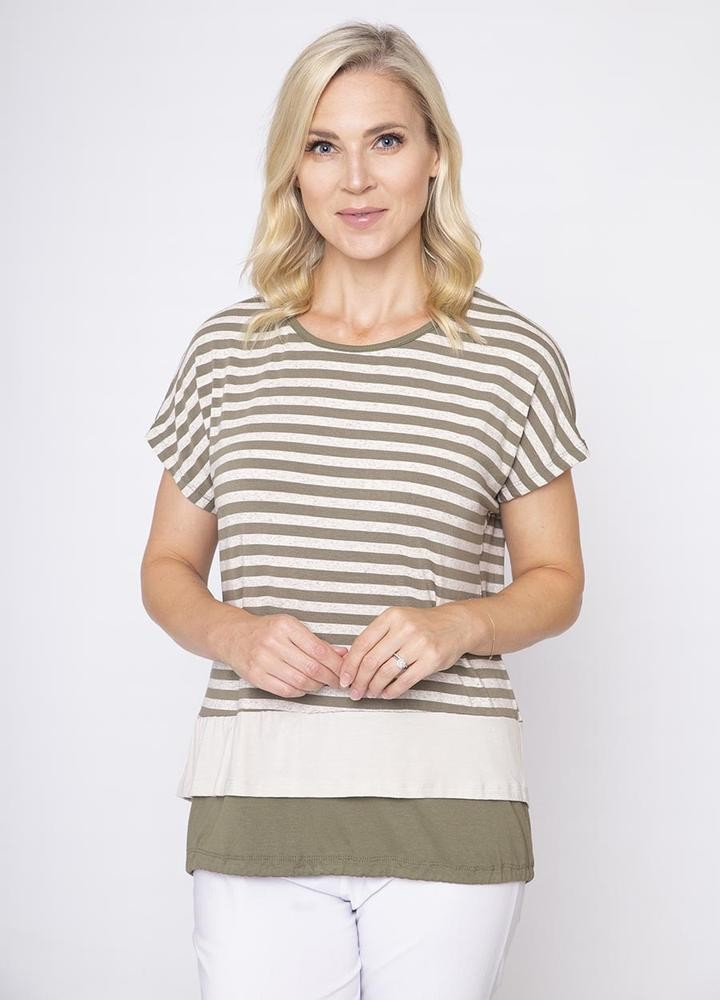 Stripe Tie Back Top Khaki