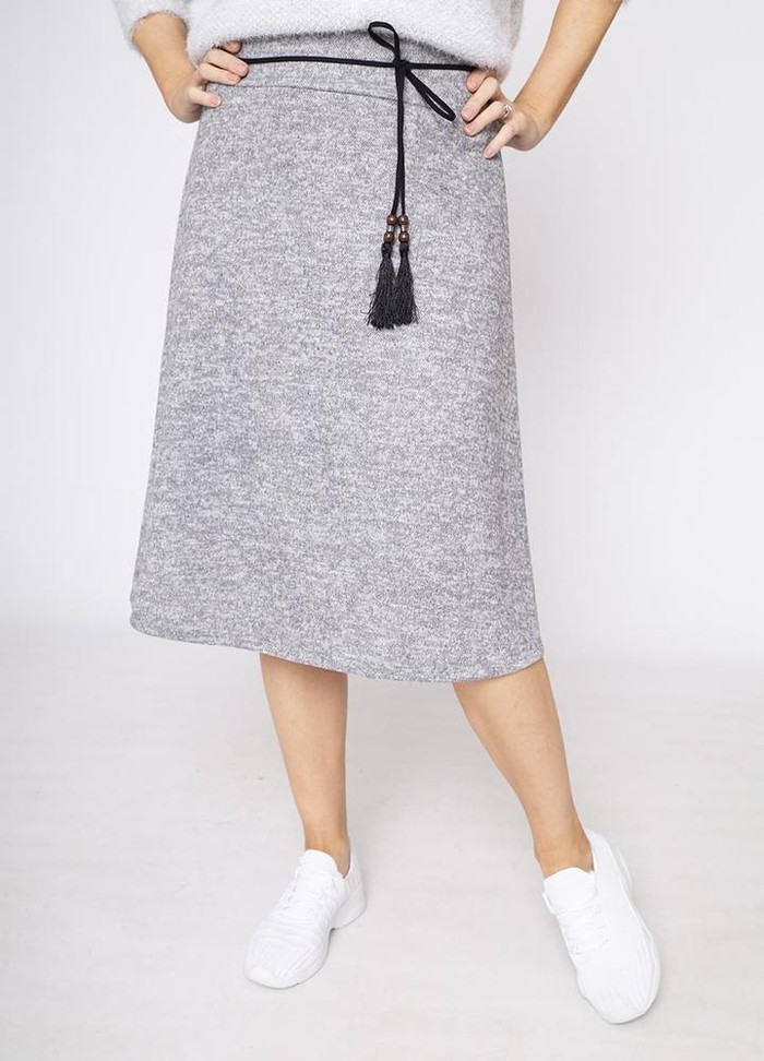A-Line Belted Skirt in Grey