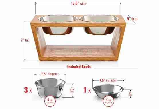 7in elevated pet feeder