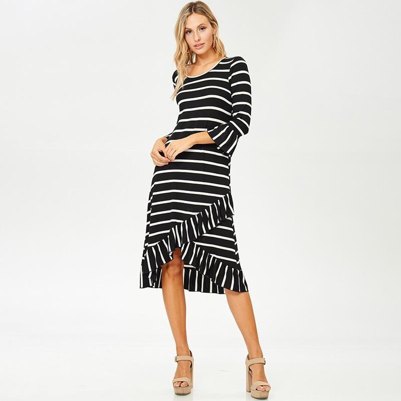 Ester Wrap Midi Dress Black