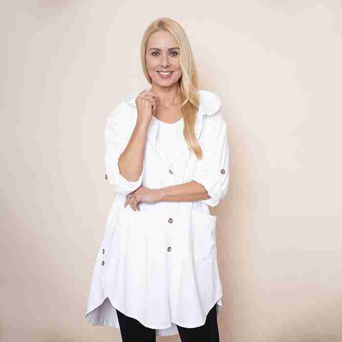 Button Sleeve Hoody Jersey Jacket(White)