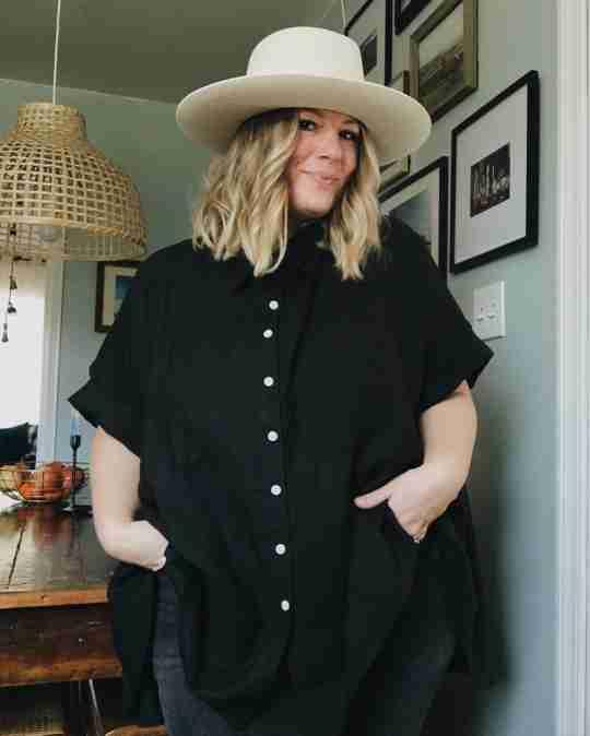 @littlerivermama in a black box top and gigi pip hat