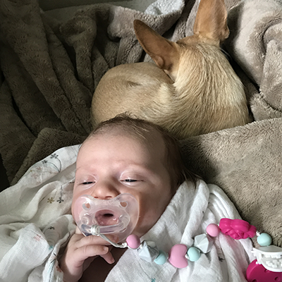 Baby Gemini with Pacifier and Dog Felipe