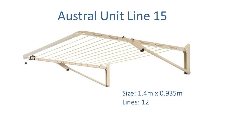 austral Unit Line 15 1.4m by 0.935m clothesline