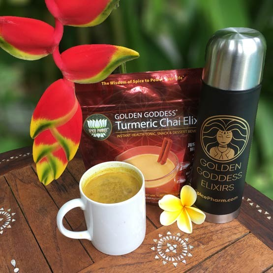 Bring the protection of powerful plants into your daily routine with Golden Goddess Turmeric Chai Elixir