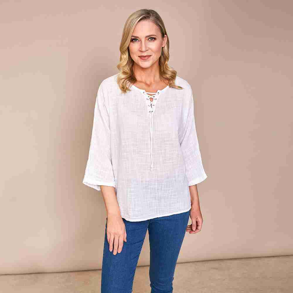 Donna Tie Lace Linen Top(White)