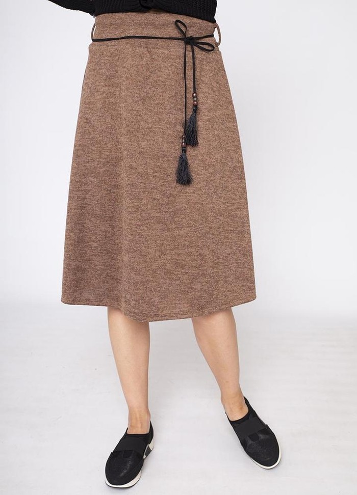 A-Line Belted Skirt in Brown
