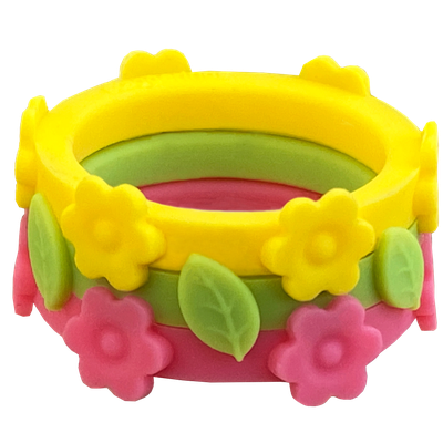Sunflower- Limon and Hibiscus Silicone rings making up the Country Fair ring bundle.