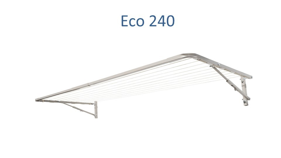eco 240 fold down clothesline 2.4m wide deployed