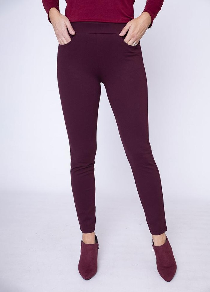 Stretch Waist Stud Pocket Trouser in Wine