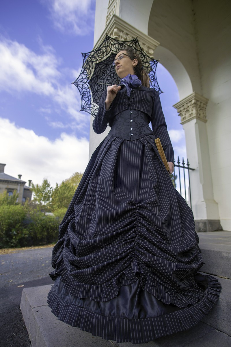 Tessa Ambrose chose the Pinstripe Victorian Wedding Dress as her costume for the Clunes Booktown Festival