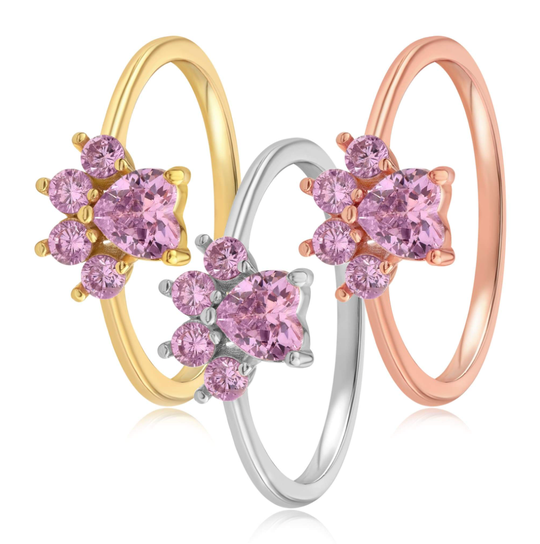 Gold, silver, and rose gold rings with five stones