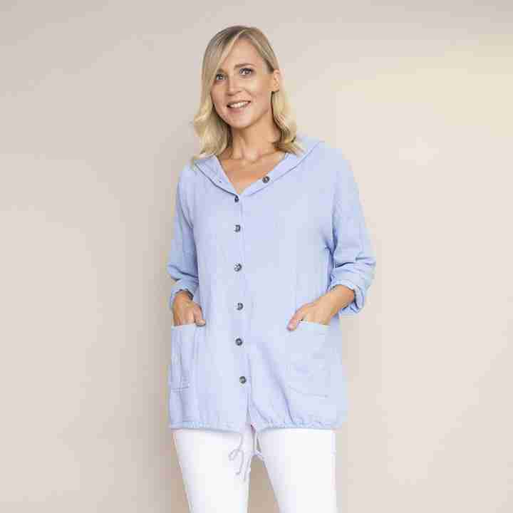 Crinkle Cotton Hoody Jacket (Blue)