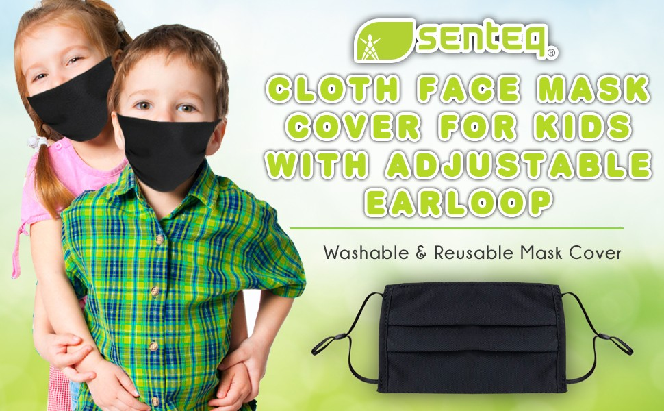 Adult Reusable Face Mask - Washable Black Masks Cover - Breathable Cloth Fabric Protection Shield - Pocket for Disposable Filtration Filters - Nose Mouth Coverings Respirator Facemasks - Pack of [3]