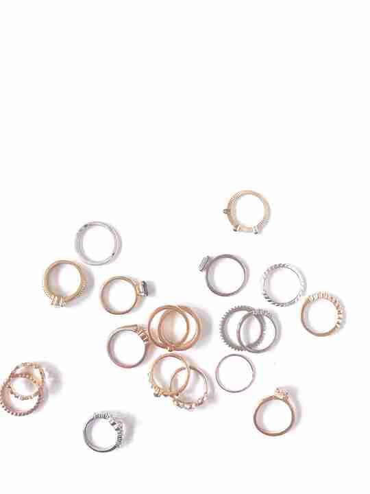 Flatlay of multiple metal rings