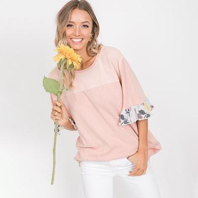 Freya Floral Sleeve Top Pink