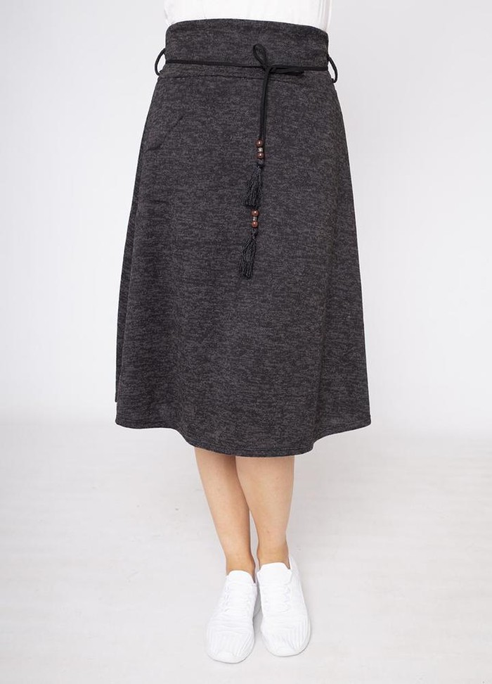 A-Line Belted Skirt in Black