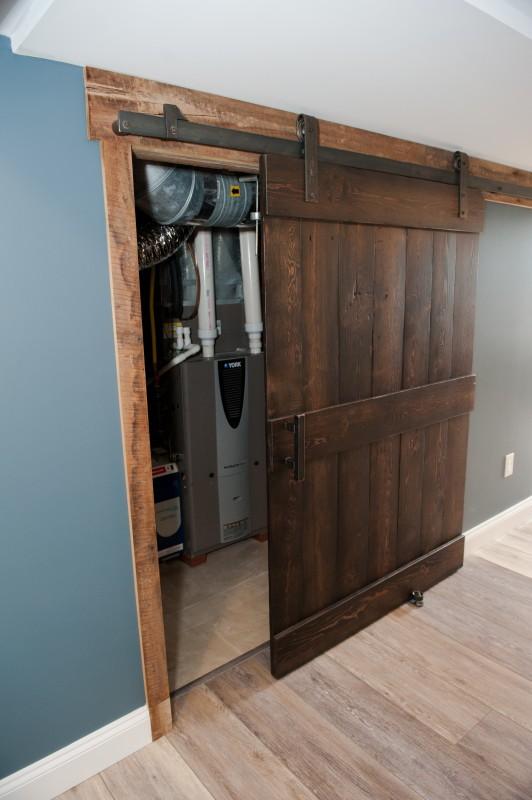utility room reclaimed pine barn door
