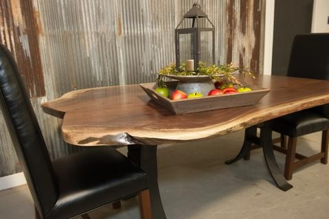 live edge wood dining table with steel base