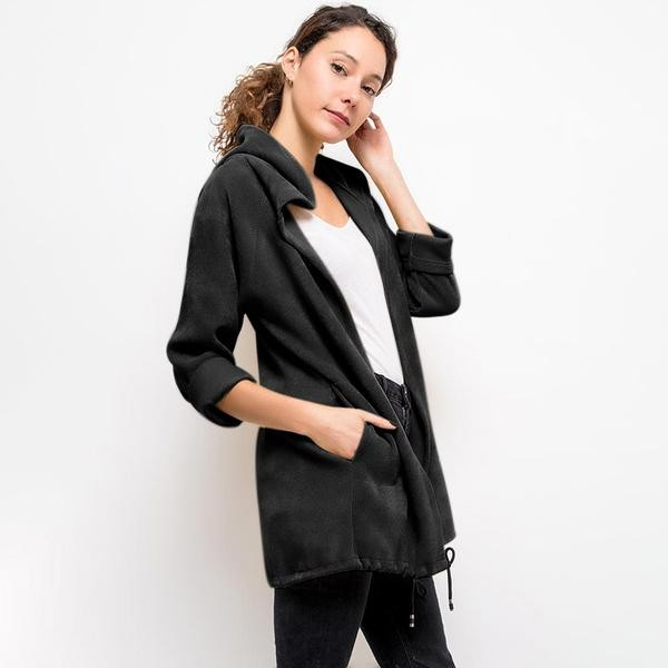 Vella Chenille Hooded Cardigan Black