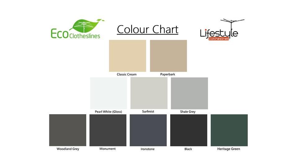 1.4m wide clothesline colour chart showing colorbond colours