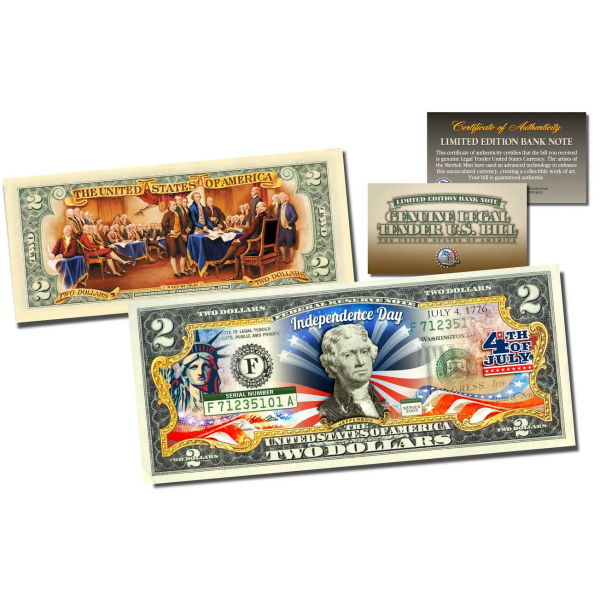 Declaration of Independence 2-Sided Colorized Genuine Legal Tender U.S. $2 Bill in Large Collectors Folio Display