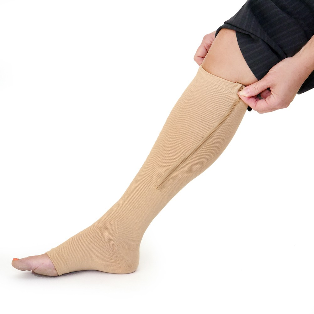 Side View of Zippered Compression Socks