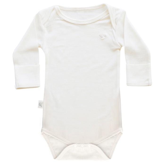 organic merino baby bodysuit as baselayer