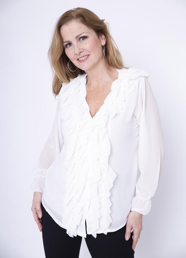 Frill Chiffon Blouse in White