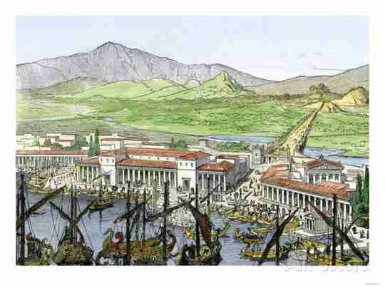 Ancient City Civilization Boats Mountains Town Water