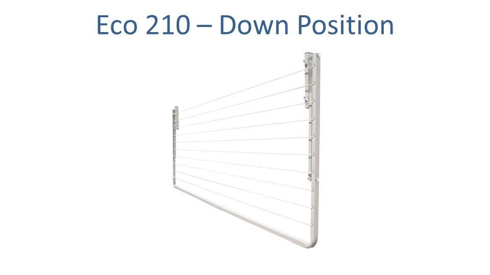 eco 210 2.1m wide clothesline folded down