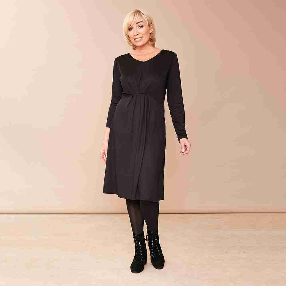 Karla V Neck Dress(Black)