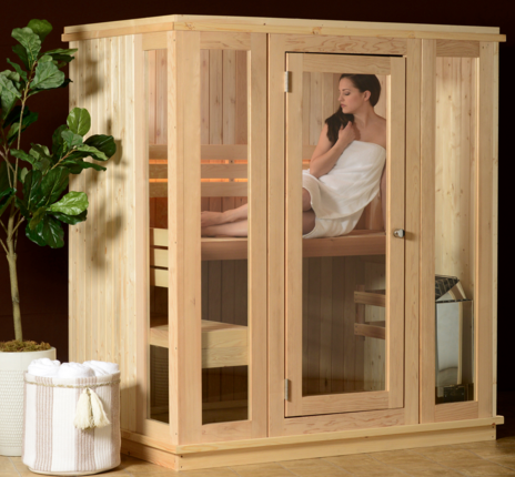 Woman sitting in a Grayson 4 Person Indoor Sauna