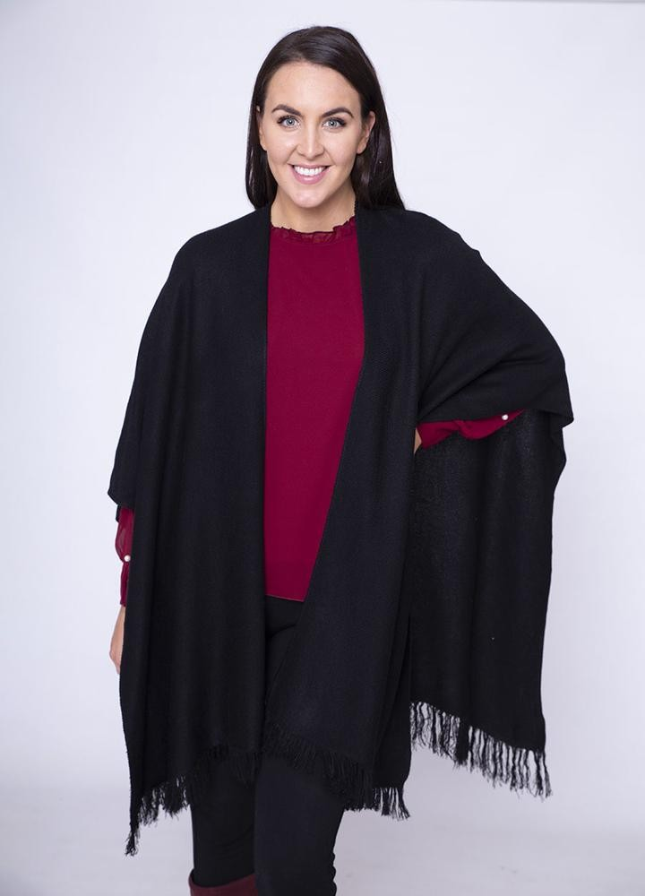 Frill Wrap Poncho in Black