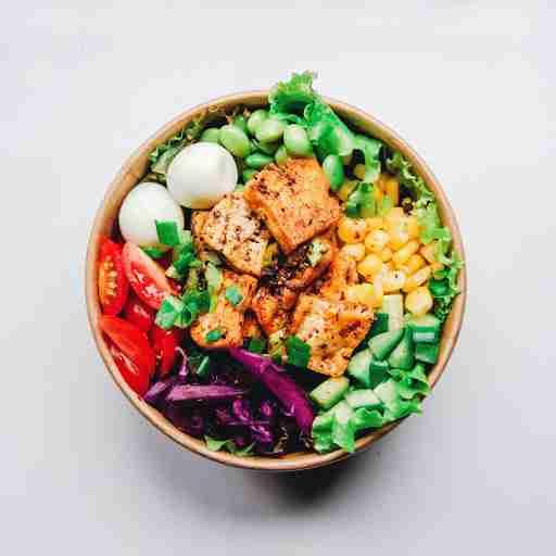 salmon and veggie salad hard boiled eggs greens