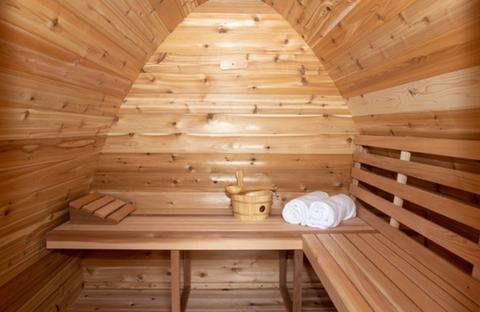 Inside of a Pod Sauna