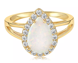 Blush & Bar White Fire Champagne Opal Ring in Gold