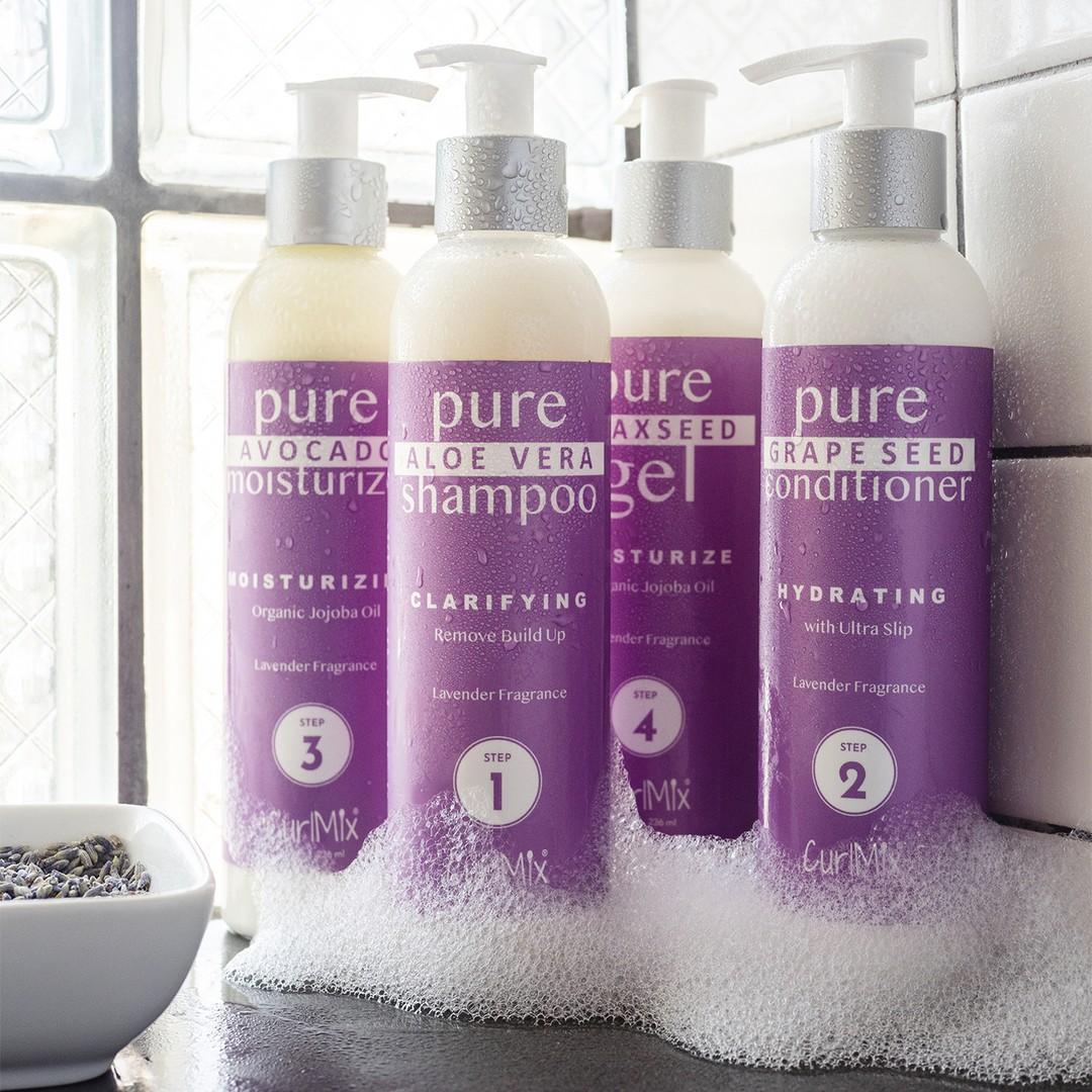 Lavender Wash + Go System with Organic Jojoba Oil for Moisturizing Hair (Step 1 - 4)