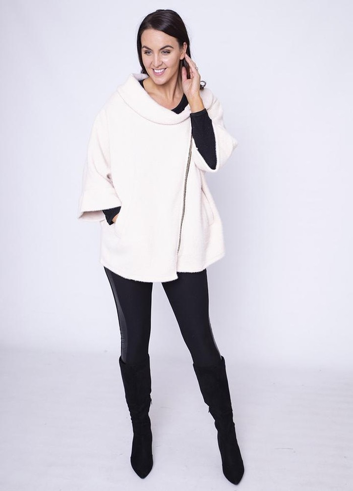 Side Zip Cardi Coat in Cream