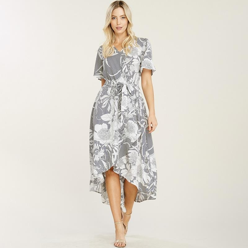 Fiona Floral Navy Wrap Dress