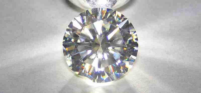 A cut moissanite stone