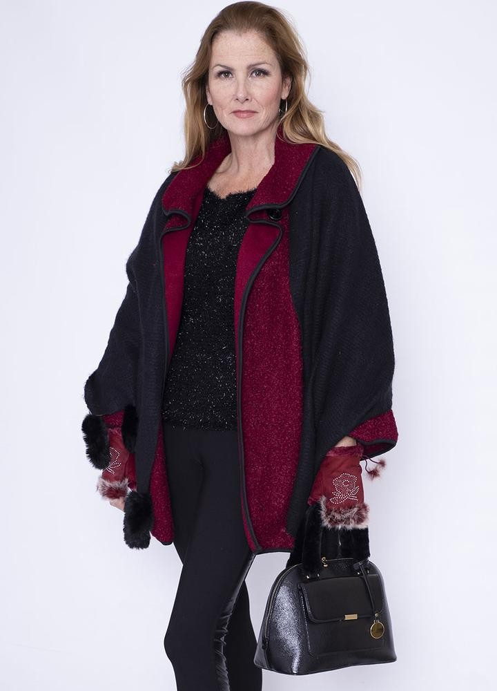 Black Trim Poodle Cardi in Wine